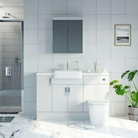 Reeves Nouvel gloss white small fitted furniture & mirror combination with white marble worktop