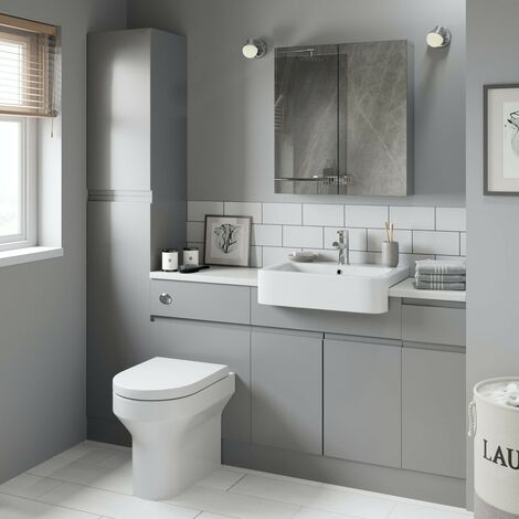 Reeves Wharfe slate matt grey straight small storage fitted furniture pack with white worktop