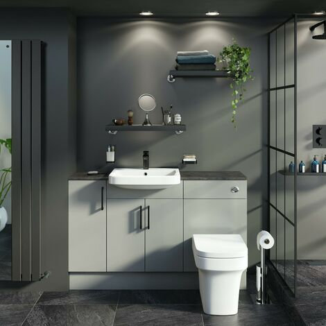 Reeves Wyatt light grey small fitted furniture combination with mineral grey worktop