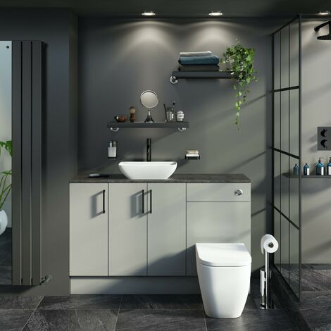 Reeves Wyatt light grey small fitted furniture combination with mineral grey worktop and countertop basin