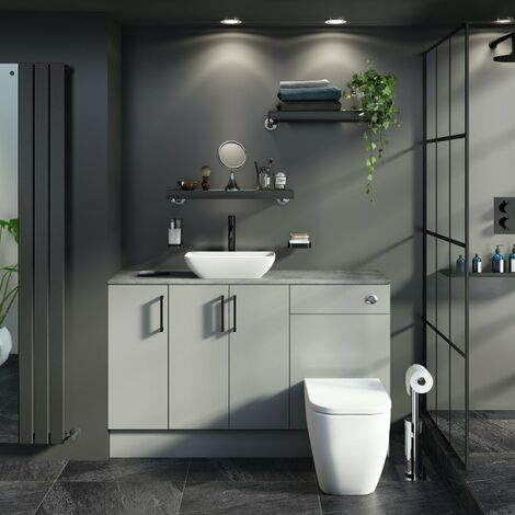 Reeves Wyatt light grey small fitted furniture combination with pebble grey worktop and countertop basin