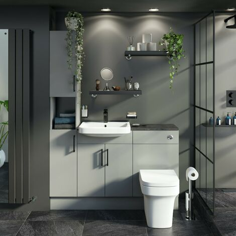 Reeves Wyatt light grey tall fitted furniture combination with mineral grey worktop