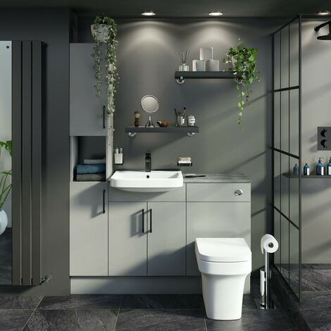 Reeves Wyatt light grey tall fitted furniture combination with pebble grey worktop