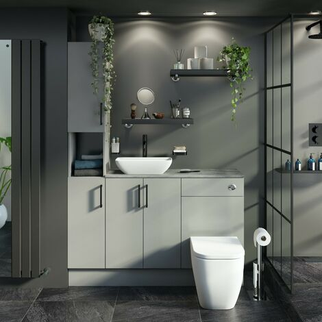 Reeves Wyatt light grey tall fitted furniture combination with pebble grey worktop and countertop basin