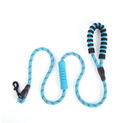 Reflective Nylon Dog Leash Double Handled Dog Rope Blue