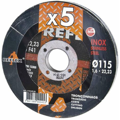 REFLEX - Lot de 5 disques à tronçonner - Fer, Inox & Tôle