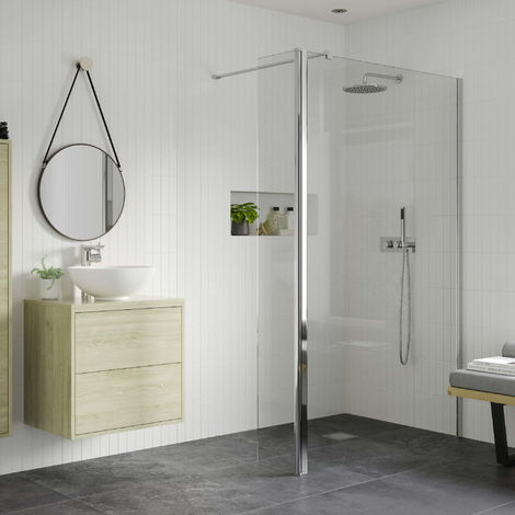 RefleXion 8 Wetroom Panel, Support Bar & 300mm Rotatable Panel - 800mm