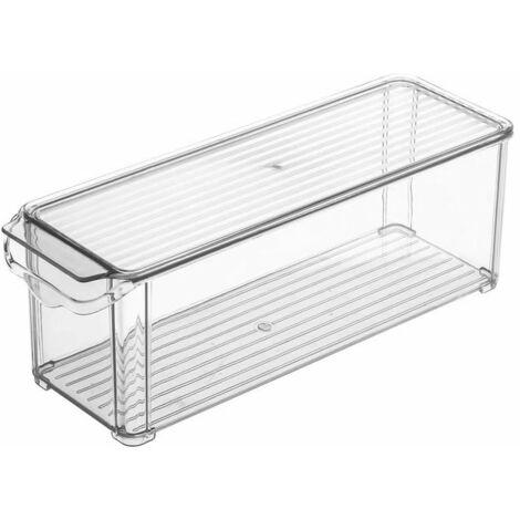 Refrigerator plastic storage boxes - Kitchen storage containers - Bathroom organization system - Kitchen cabinet, Refrigerator baskets (30 * 10 * 5.5cm)