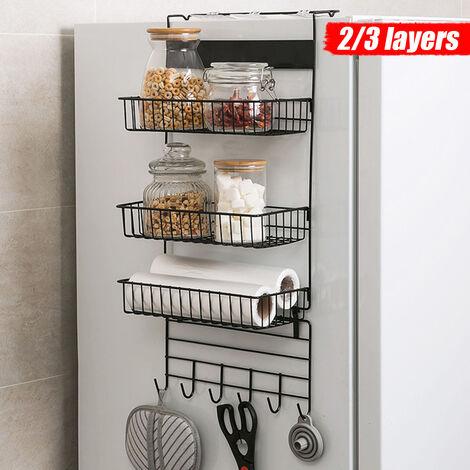 Refrigerator Rack Fridge Side Shelf Kitchen Organizer Storage Wall Rack (Black, 3-Layer Type B)