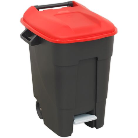 Refuse/Wheelie Bin with Foot Pedal 100ltr - Red