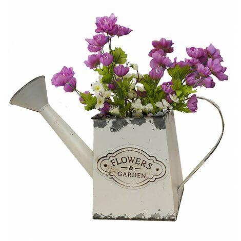 Regadera/Macetero Decorativo Vintage Blanco de Metal, Flower Garden 33x12x21cm