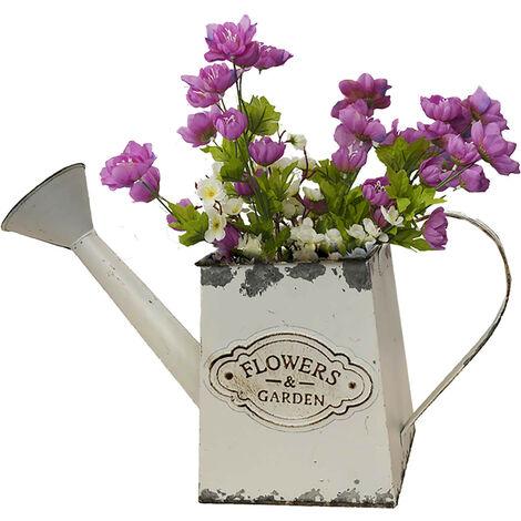 """Regadera/Macetero Decorativo Vintage Blanco de Metal, """"Flower Garden"""" 33x12x21cm"""