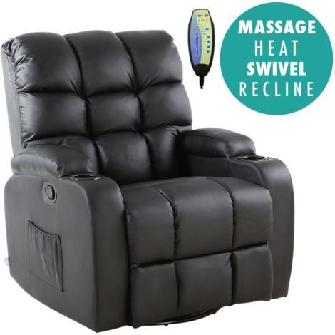 REGAL BLACK LEATHER RECLINER CHAIR