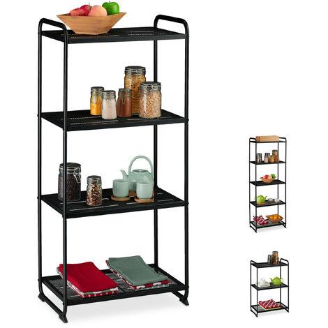 Regal Metall, 4 Ablagen, Vorratsregal Küche & Abstellkammer, universal, Standregal, HBT 124,5x58x34, schwarz