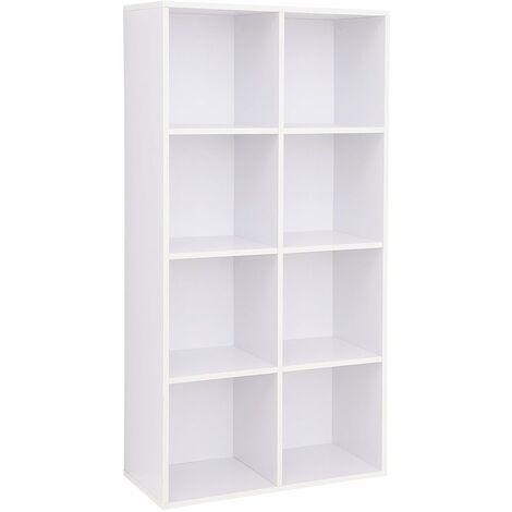 Regal mit 8 Fächern Bücherregal aus Holz als Dekoregal freistehende Schrank für Büro Zuhause Eichefarben/Weiß