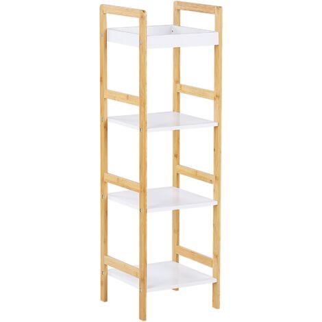 Regal Weiß / Heller Holzfarbton 4 offene Fächer MDF-Platte / Bambusholz Esszimmer Wohnzimmer
