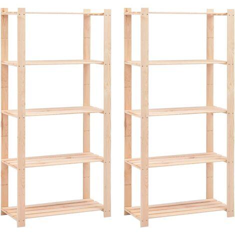 Regale 5 Böden 2 Stk. 80×38×170 cm Kiefer Massivholz 250 kg