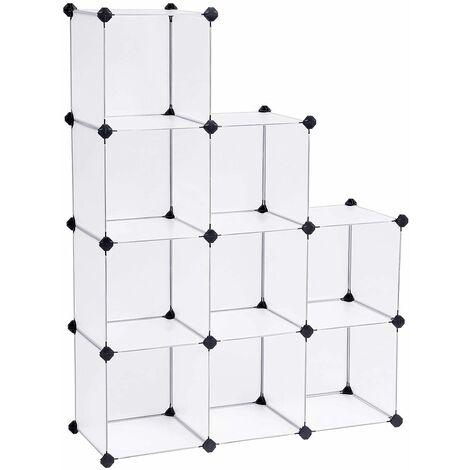 Regalsystem Cube Aufbewahrung Badregale Schuhregal Sideboard Kommode Kleiderschrank Aufbewahrungsbox Weiß 93 x 31 x 123 cm LPC115S - Halbtransparent Weiß
