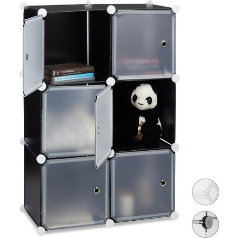 Regalsystem m. 6 Türen, DIY, Cubes, Grifföffnungen, Raumteiler, Badregal, Kunststoff, HBT 98x66x32 cm, schwarz