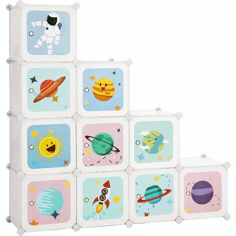 Regalsystem mit 10 Würfeln, Aufbewahrungsschrank für Kinder, Steckregal, Schuhregal aus Kunststoff, Kleiderschrank mit Türen, für Schuhe, Spielzeug, 123 x 31 x 123 cm, weiß LPC903W01 - Weiß