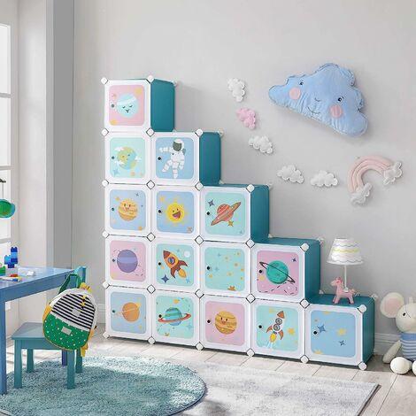 Regalsystem mit 16 Würfeln, Aufbewahrungsschrank für Kinder, Steckregal, Schuhregal aus Kunststoff, Kleiderschrank mit Türen, Mehrzweck, Schuhe, Spielzeug, 123 x 31 x 123 cm, blau LPC902Q01 - Blau