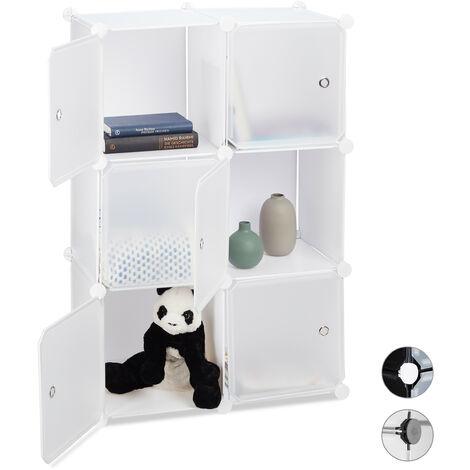 Regalsystem mit 6 Türen, DIY, Cubes, Grifföffnungen, Raumteiler, Badregal, Kunststoff, HBT: 98x66x32 cm, weiß