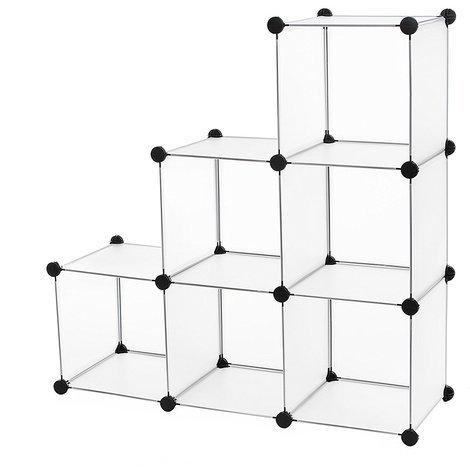 Regalsystem Raumteiler Stufenregal Standregal Badregal Regal Kleiderschrank Sideboard Schrank Aufbewahrungsbox Weiß 93 x 31 x 93cm LPC111S