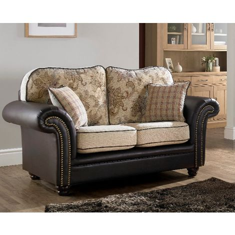 Regency 2 Seater Sofa Settee Oatmeal Fabric Brown Faux Leather