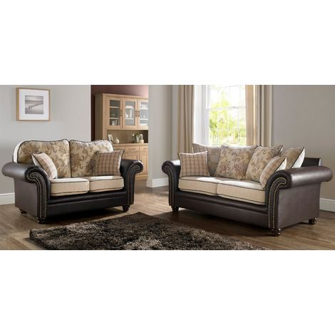 Regency 3+2 Seater Sofa Settee Oatmeal Fabric Brown Faux Leather