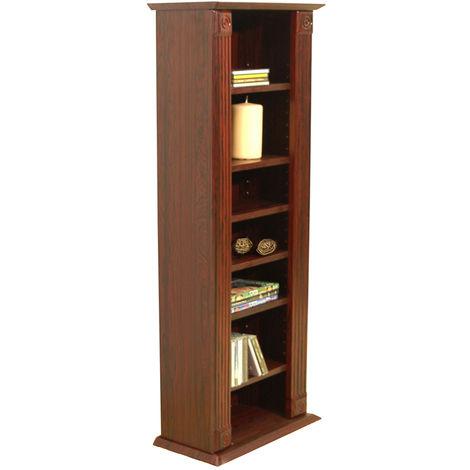 REGENCY - Bookcase / Storage Shelves - 217 CD / 85 DVD / Blu-ray - Mahogany