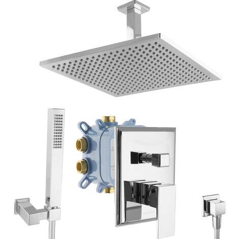Regendusche Duschsystem Grundkörper Unterputz Armatur eckig Chrom