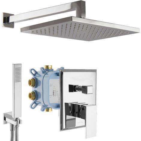 Regendusche Duschsystem mit Box Unterputz Duscharmatur eckig Chrom