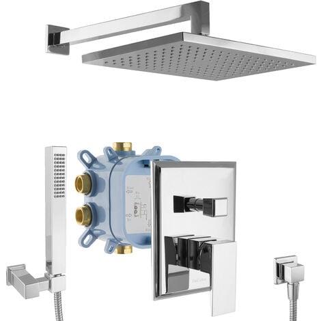 Regendusche Duschsystem Unterputz eckig Duscharmatur Set Duschkopf