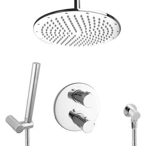 Regendusche Duschsystem unterputz Messing 30cm Thermostat Deckenmontage