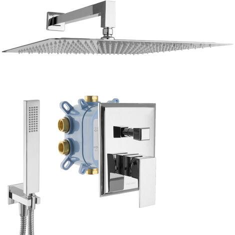 Regendusche eckig Unterputzarmatur Montagebox 2-Wege Duschsystem