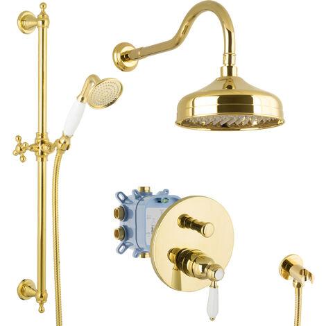 Regendusche Set Unterputz Gold Duschsystem Luxus Dusche Komplett