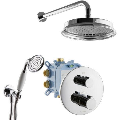Regendusche Unterputz Thermostat Armatur Rund Duschsystem Chrom Retro