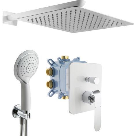 Regendusche weiß chrom Duscharmatur Handbrause Duschsystem Unterputz