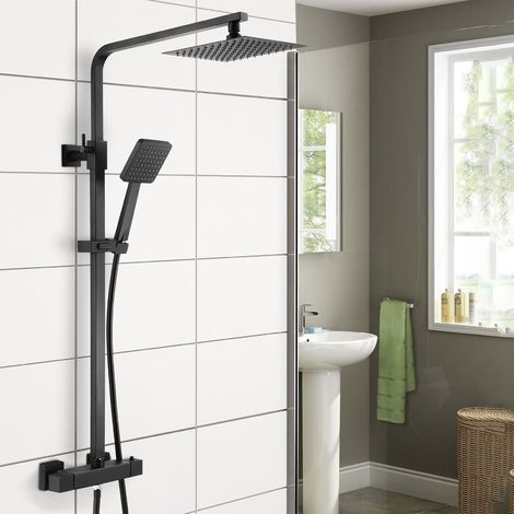 Regent Square Black Exposed Thermostatic Shower Mixer - Slider Rail Kit