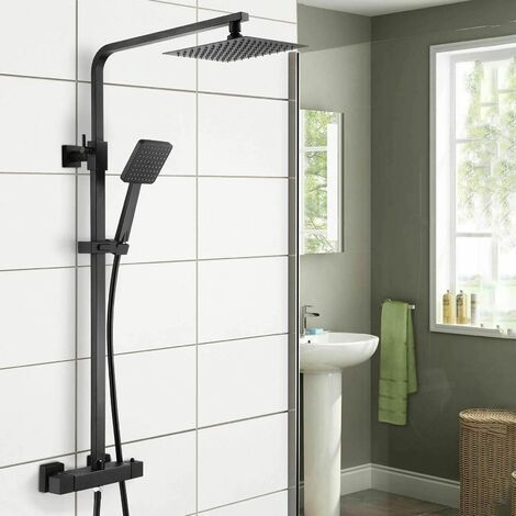 Regent Square Black Exposed Thermostatic Shower Mixer - Slider Rail Kit