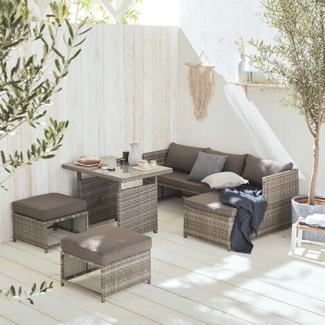 Reggiano: 6-seater rounded rattan garden sofa set with table, mixed grey