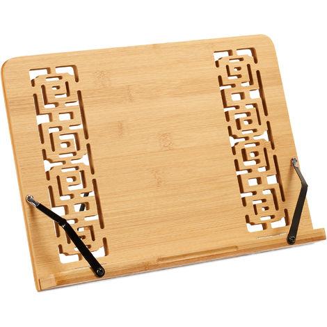 Reggilibri, Supporto in Bambù per Ricettari, Regolabile, 5 Livelli, Pieghevole, 24x34x21 cm, Legno Naturale