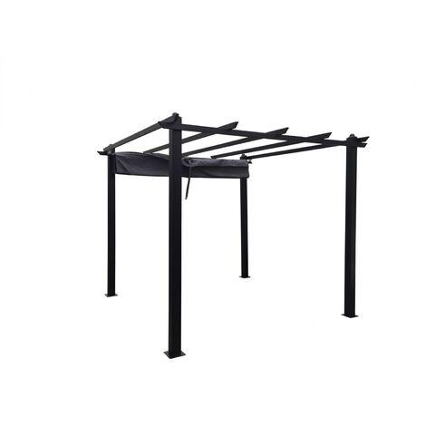 Regia: pérgola independiente de 3 x 3 m, estructura de aluminio y tela de poliéster gris