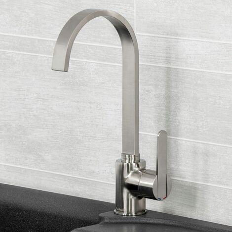 Reginox Amur Kitchen Sink Tap Brushed Swivel Spout Mixer Monobloc Single Lever