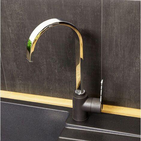 Reginox Amur Kitchen Sink Tap Chrome Black Mono Swivel Spout Mixer Single Lever
