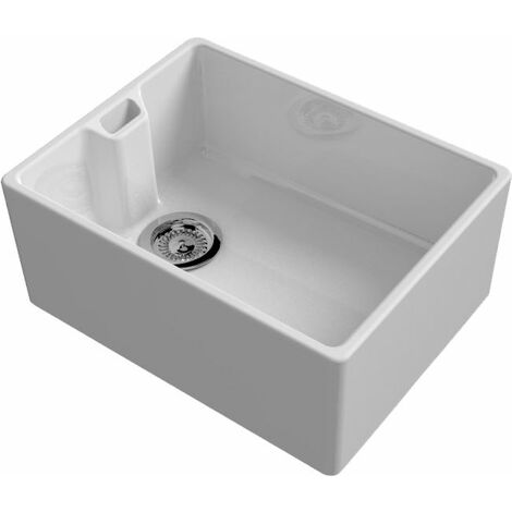 Reginox Belfast Ceramic Deep Single Kitchen Sink White Basket Waste