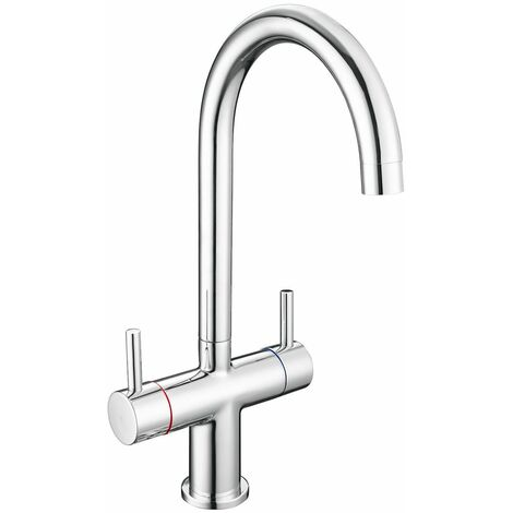 Reginox Beni Kitchen Sink Tap Chrome Swivel Spout Mixer Hot Cold Taps Dual Lever