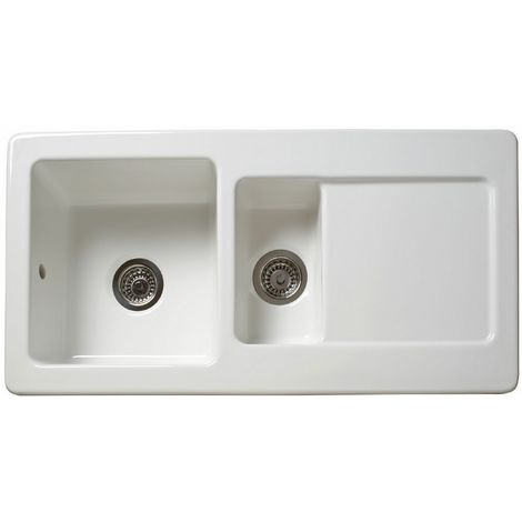 Reginox Ceramic White Single & Half Bowl & Drainer Sink