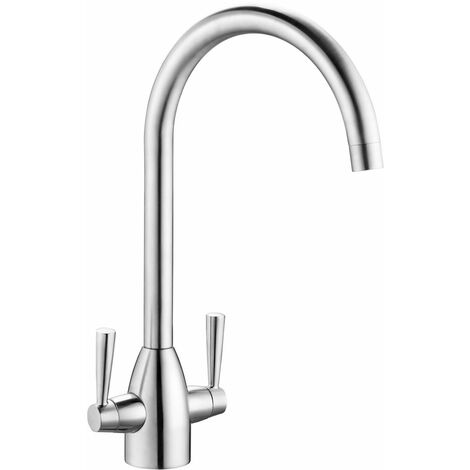 Reginox Drave Kitchen Sink Tap Chrome Swivel Spout Mixer Hot Cold Tap Dual Lever
