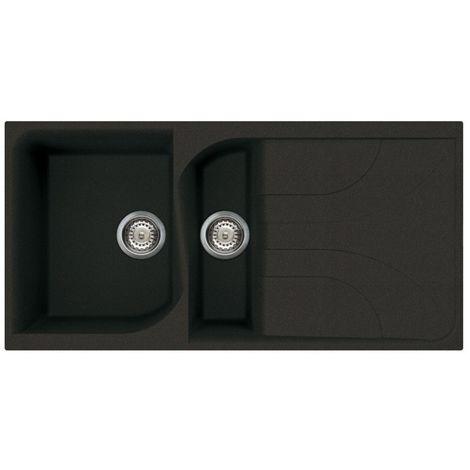 Reginox Ego 475 Granite Black Single & Half Bowl Reversible Drainer Sink